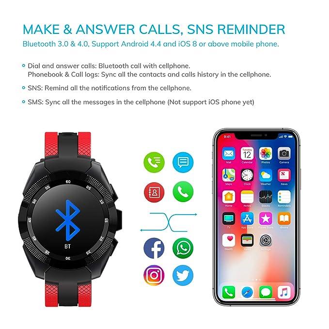 Amazon.com: Reloj inteligente, Wonbo Bluetooth podómetro ...