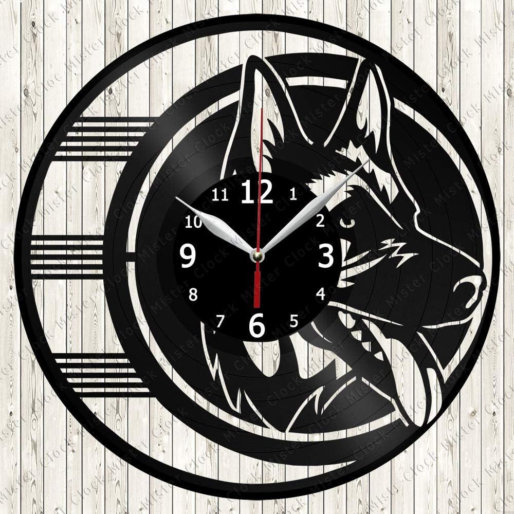German Shepherd Vinyl Record Wall Clock Decor Handmade 3146