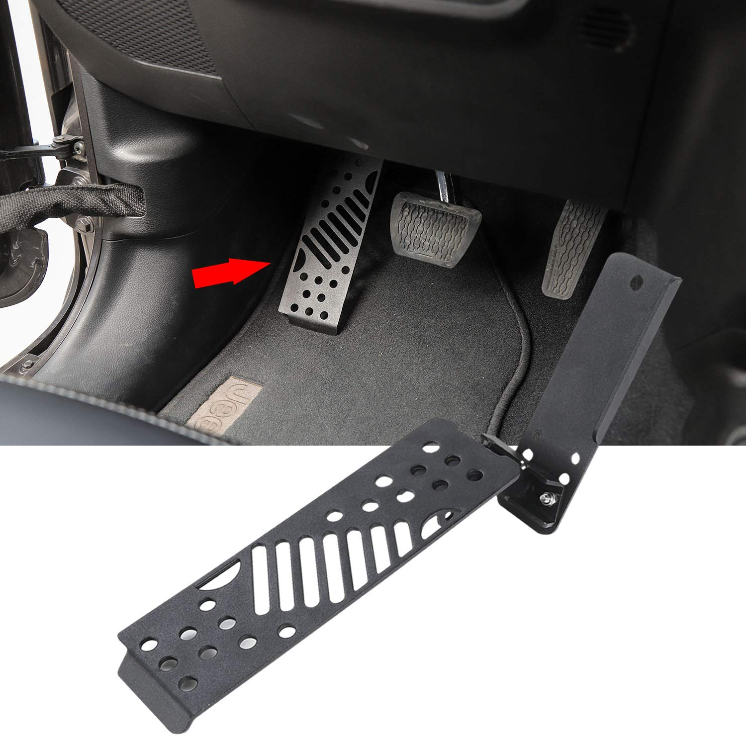IPARTS Front Black Footrest Pegs Grille Foot Pedal Steel Panel for Jeep Wrangler 07-17 JK/&JKU Pair