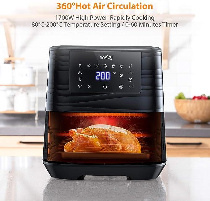 Innsky 5,5L XXL Friteuse sans huile en acier inoxydable avec écran LCD numérique, 7 programmes, Friteuse à air chaud 1700W Airfryer avec 32 livres de recettes, sans friteuse à huile(dernière version)
