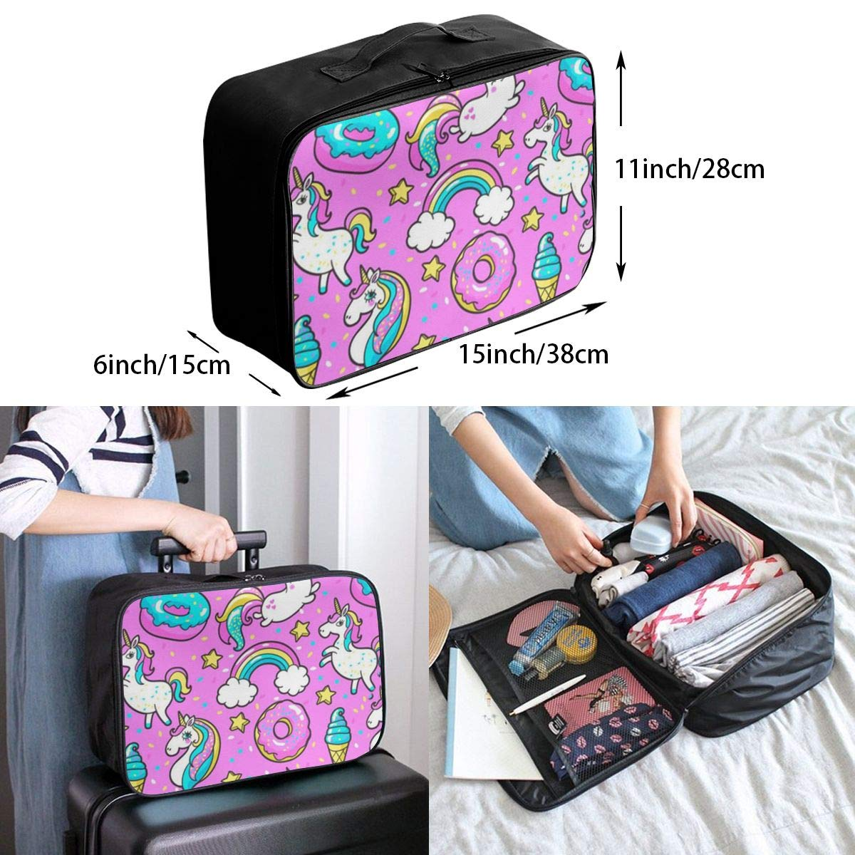 ADGAI Cute Unicorn Kawaii for Girls Canvas Travel Weekender Bag,Fashion Custom Lightweight Large Capacity Portable Luggage Bag,Suitcase Trolley Bag