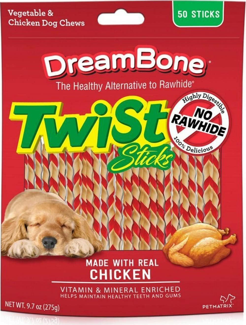 DreamBone Twist Sticks Dog Chews, Chicken, 50 Count, 24 Pack