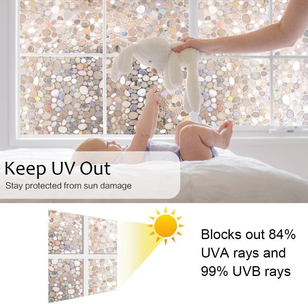 rabbitgoo 3D Vinilos para Ventanas Vinilo Adhesivo para Cristales Privacidad Laminas Translucido Electrostaticas de Ba/ño Cocina Oficina Control de Calor y Anti UV Pebble Patr/ón 44.5x200CM