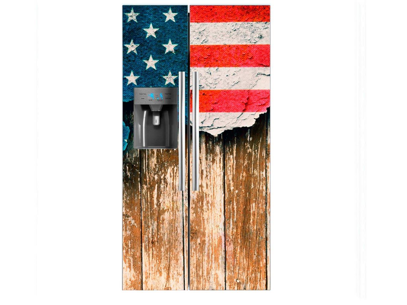 Vinilo Frigorí fico Americano Bandera Desgarrada Estados Unidos | 90x180cm | Varias Medidas | Pegatinas de Nevera Econó micas y Elegantes | Vinilo Nevera Oedim