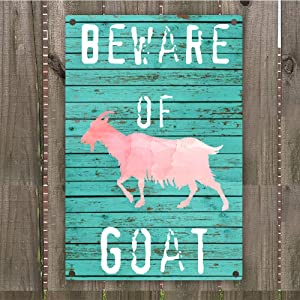 "Beware of Goat Vintage Retro Metal Warning Sign Wall Art Decor 8"" x 12"""