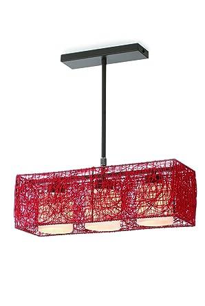 CristalRecord Lámpara de techo E27, Rojo, 3 focos