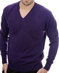 5d53a920a72a2e Balldiri 100% Cashmere Kaschmir Herren Pullover V-Ausschnitt 4-fädig violett