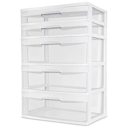 Sterilite 5 Drawer Wide Tower White Storage Organizer Cabinet Furniture  Pack New Dorm Organization Garage Bedroom