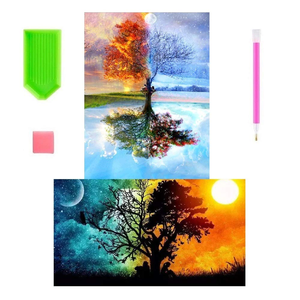 2 Pack DIY 5D Diamond Painting Kits Full Drill Diamond Paint by Number for Adults Kids,Diamond Rhinestone Crystal Painting Kit Art Craft for Home Wall Decor CH HAICHENG B07GTHB155