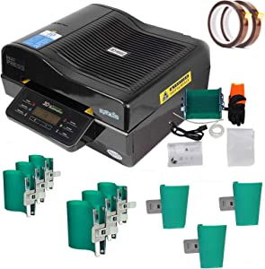 INTSUPERMAI 3D Vacuum Sublimation Heat Press Machine Muti-fuction Sublimation Machine Kit with 9 Pieces Rubber Clamp and 2 Pieces Tape for Mugs Transfering Printing 2800W