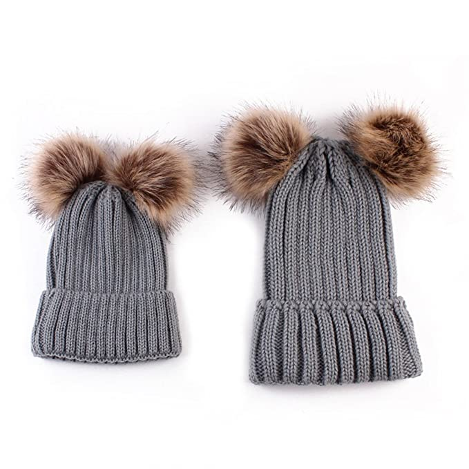 ECYC Family Matching Hat Winter Warm Cotton Knitting Beanie Double Pompom  Hats 52e8c9a5bfc