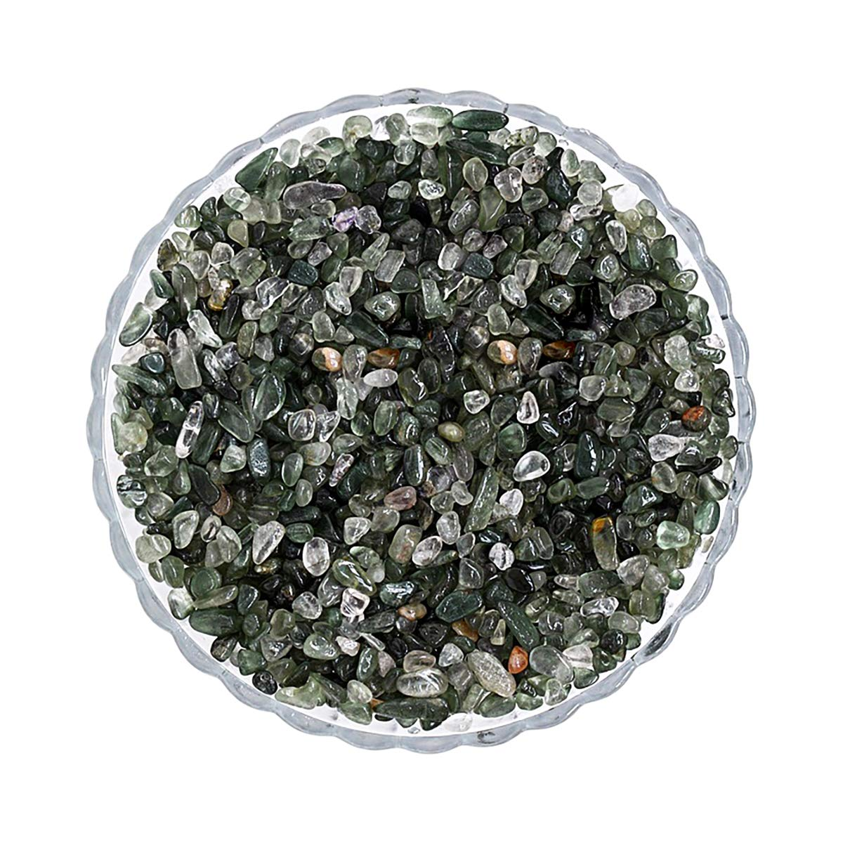 LiangGui Decorative Stones for Fish Tank Tumbled Chips Stone Natural Green Crystal
