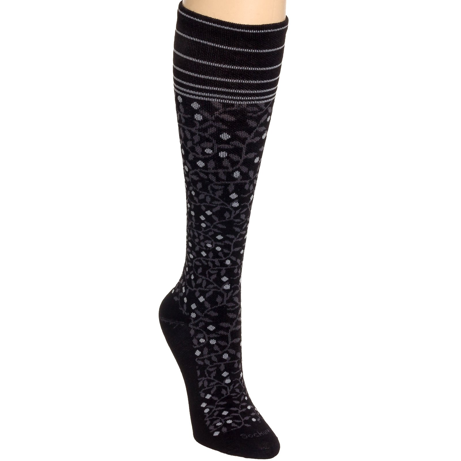 Sockwell New Leaf Non-Cushion Sock - Women's Black Medium/Large