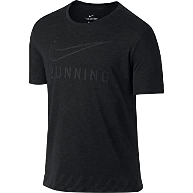 a7cfbd87 Nike Mens Dri-Fit Running/Training Short Sleeve T-Shirt (Small, Black  Heather) at Amazon Men's Clothing store:
