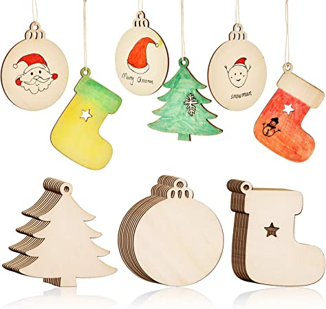 LovesTown 60 Pcs Unfinished Christmas Wooden Ornaments Unpainted Christmas Ornaments 12 Styles Craft Wood Kit with 60 Pcs Colored Jingle Bells DIY Christmas Ornaments for Holiday Decoration