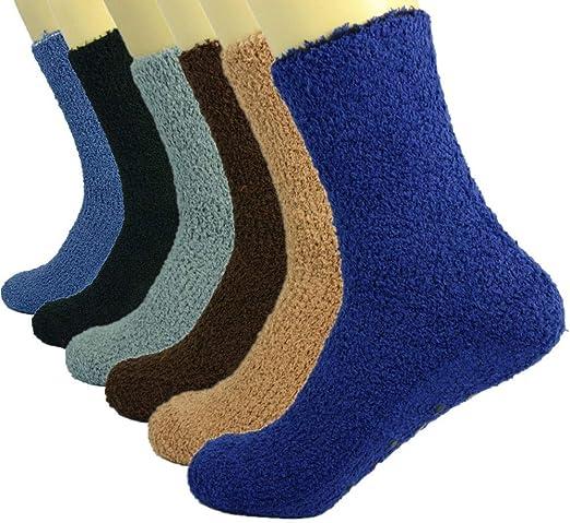 3 Pairs Socks for Women Soft Cozy Fuzzy Non-Skid Solid Home Warm Slipper Socks
