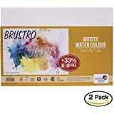 Brustro Artists Watercolour Paper, 200 GSM, A5 Size, 25% Cotton CP 18 + 6 Sheets (Pack of 2)
