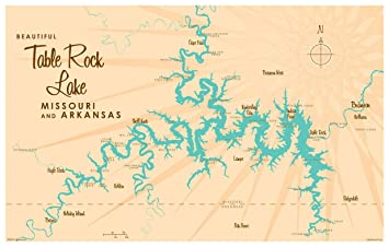 Map Of Table Rock Lake Amazon.com: Table Rock Lake Missouri Map Vintage Style Art Print  Map Of Table Rock Lake