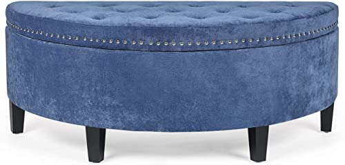 Edeco Curved Storage Ottoman Button Tufted Fabric Coffee Table Blue