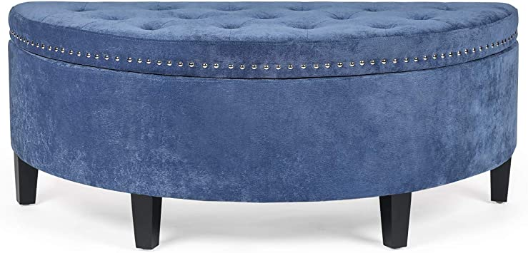 Amazon Com Edeco Curved Storage Ottoman Button Tufted Fabric Coffee Table Blue Furniture Decor