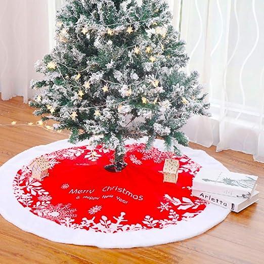 Gudotra 122 cm Falda Roja de Árbol Navidad Copo de Nieve Carpet ...