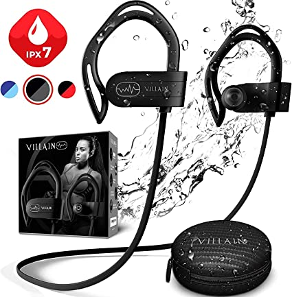 Amazon Com Newest 2020 Villain Bluetooth Headphones For Running Gym Workout Wireless Sport Earbuds With Aptx Hifi Sound Clear Thumping Bass Best Ipx7 Waterproof Earphones With Microphone Home Audio Theater