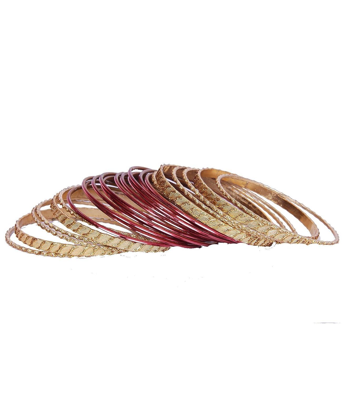 Rust Pink Gold Glitter Designer 24 Bangle Set