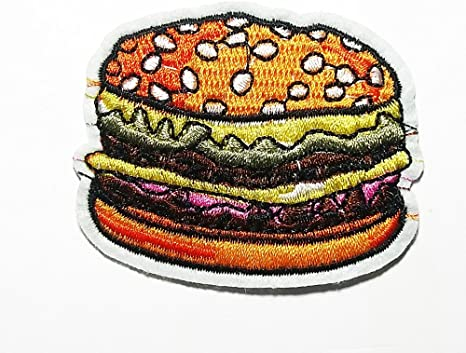 Hamburgers are Popular Foods Around The World Patch Embroidered Sew Iron On Patches Badge Bags Hat Jeans Shoes T-Shirt Applique