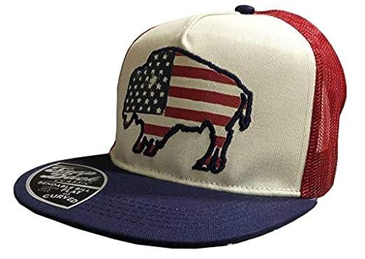a1ac9a9f6fc Farm Boy Men s American Flag Bison Adjustable Trucker Hat-Navy-OSFM ...