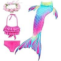 Hifunbay Cola de Sirena Niña para Nadar Incluido Traje de Sirena Baño de Bikini de 3 Piezas y Diadema con Guirnaldas de…