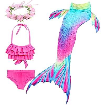 Hifunbay Cola de Sirena niña para Nadar Incluido Traje de Sirena baño de Bikini de 3 Piezas y Diadema con guirnaldas de Flores