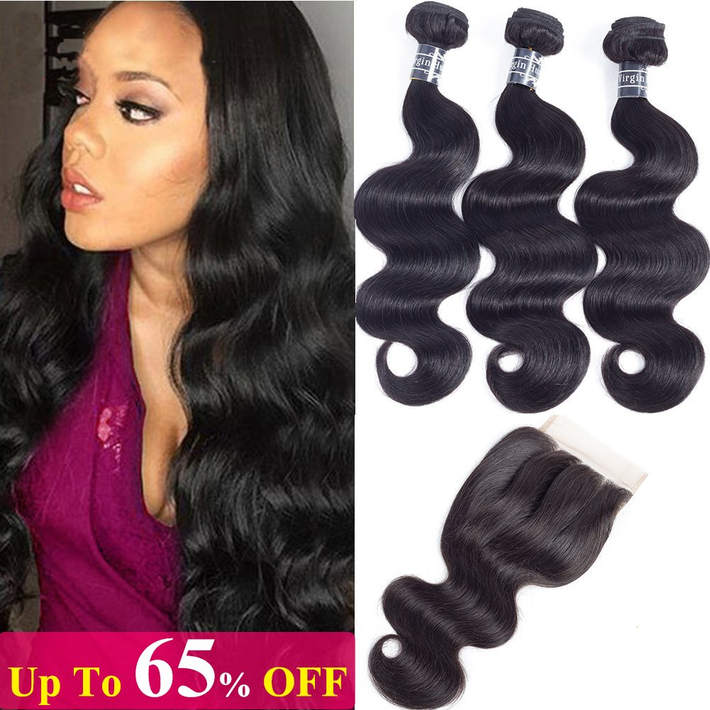 10A Brazilian Body Wave Virgin Human Hair 3 Bundles with Lace Closure (18'' 20'' 22''+16''Closure,Three Part,Natural Black) 100% Unprocessed Brazilian Body Wave Human Hair Weave With 4x4 Lace Closure