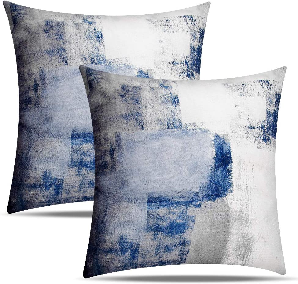Set of 2 Blue and Grey Pillow Covers Contemporary Art Home Decorative Throw Pillow Covers 18x18 Inch Accent Pillows Case for Sofa Couch Living Room Décor