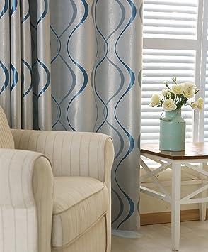 adaada 2er-Set Moderne Art Geometrische Vorhänge Wohnzimmer Vorhänge(245 *  140cm,Blau)