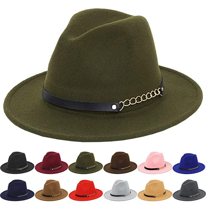 d311e1e21203a 100% Wool Fedora Hats for Women Vintage Wide Brim Mens Fedora Cap at ...