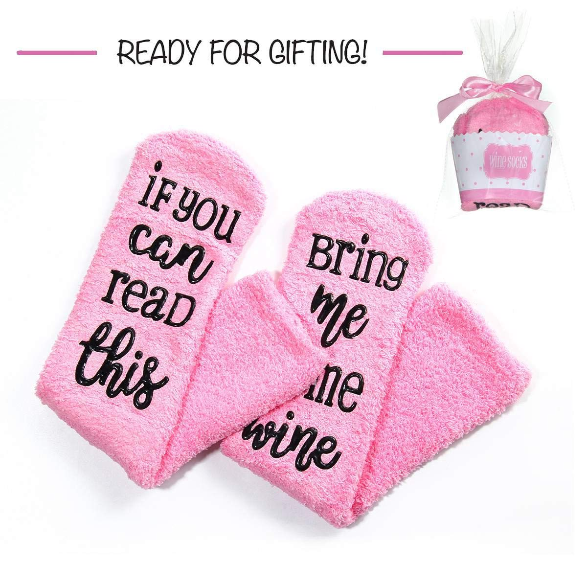 Wine Socks, Womdee Wine Lover Socks with If You Can Read This Bring Me Some Wine and Cupcake Gift Packaging Funny Novelty Winter Socks for Wife Women Present (Pink)