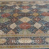 Yilong 8.5 x10.2  Persian Silk Rugs Handmade Oriental Traditional Checkered Floral Pattern Hand Knotted Home Carpet...