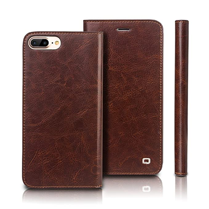 new concept d3e83 0329e iPhone 8 Plus Case, iPhone 7 Plus Case, QIALINO Leather Case Slim Flip Card  Holder Wallet Phone Case for iPhone 7 Plus/iPhone 8 Plus - Brown