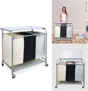 Sotech -3 Bag Laundry Sorter with Grey Iron Board, Hamper Sorter with Heavy-Duty Rolling Wheels, 3 Color Design