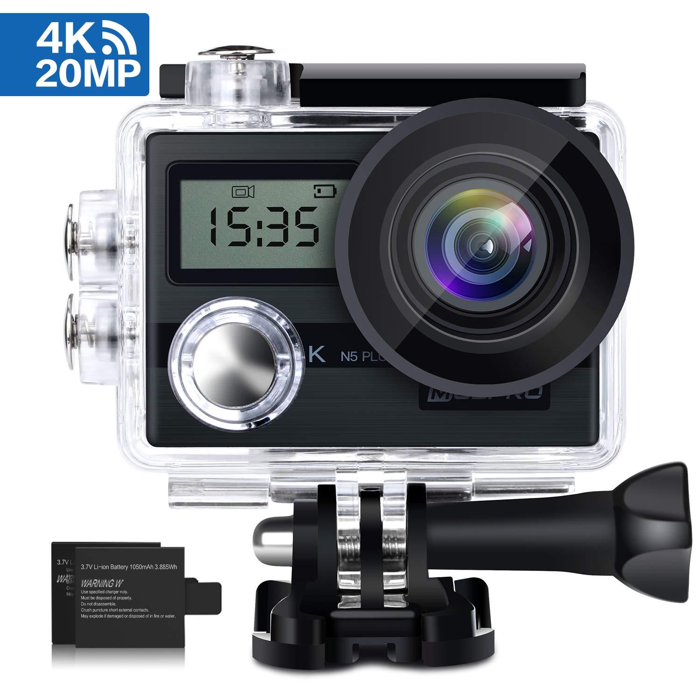 KAMTRON 4K Action Kamera Sport Actioncam Wasserdicht - Helmkamera mit 2.4G Fernbedienung WiFi Ultra HD 12MP 170°Weitwinkel 2 Wieder Aufladbare 1050mAh Akkus 19 teiliges Zubehör Kit Action Cam 4K