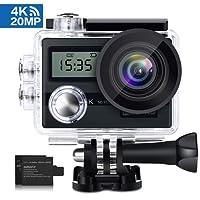 """KAMTRON Action Cam 4K Wasserdicht Aktion Kamera - 20MP Ultra Full HD WiFi Unterwasserkamera Helmkamera mit EIS 170° Weitwinkelobjektiv Sony Sensor 2""""-LCD-Touchscreen 2 wiederaufladbare Batterien Reisetasche und Zubehör"""