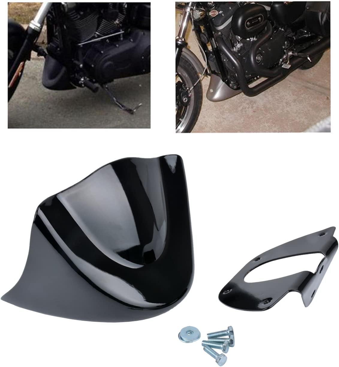 TUINCYN Universal Motorcycle Mudguard Cover kit Matte Black Chin Front Spoiler for Harley Davidson Sportster 2004-2014 XL883 XL1200 2004-2015