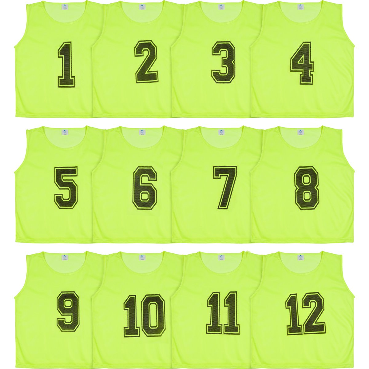 Athllete Set of 12- Scrimmage Vest/Pinnies/Team Practice Jerseys with Free Carry Bag. Sizes for Children, Youth, Adult and Adult XXL (Neon Yellow Numbered, XX-Large) by Athllete