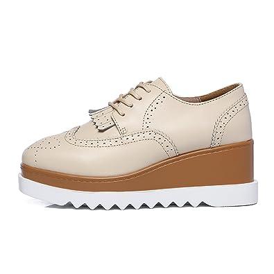 69e46153d08c7 JRenok Chaussures Femme de Ville Brogues Derbies Baskets Lacets Casuel  Mocassins Compensé à Haute Talon 6.5