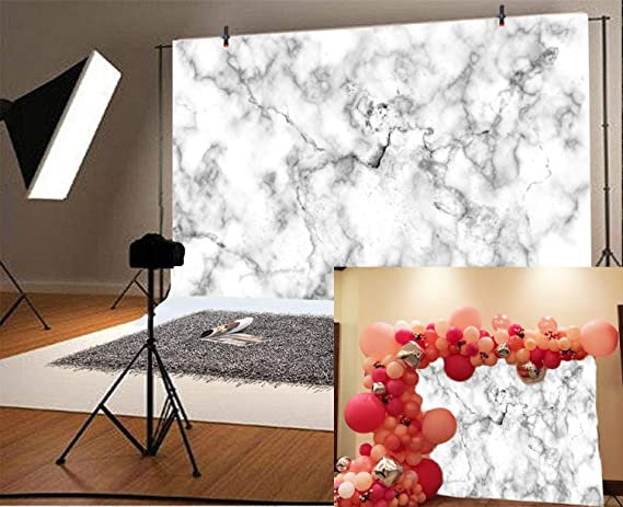 Laeacco 10x7ft Abstract Marble Texture Backdrop Blue Marble Vinyl Photography Background Blue and Gold Birthday Decoration Banner Children Kids Adults Photo Studio Prop Artistic Portraits Shoot