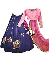 Lehenga Choli (Women Baby Pink & Blue Silk party wear lehenga choli FREE_SIZE)