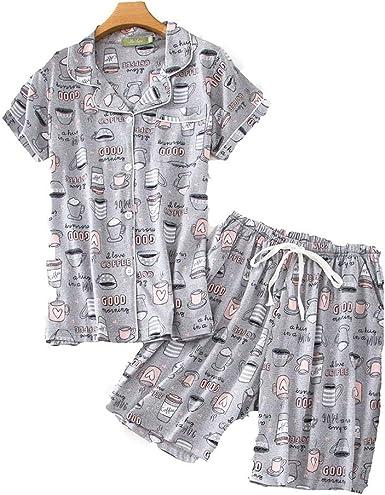 Pijama Mujer Verano Corto Algodon Set,Pijamas Botones Casual ...