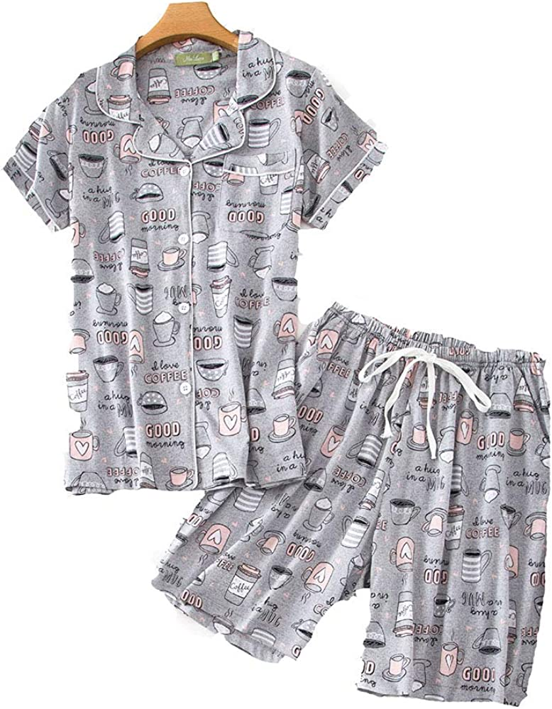 Pijama Mujer Verano Corto Algodon Set, Pijamas Botones Casual, Camiseta y Pantalones Suave y Comodo, Ropa para Dormir 2 Piezas (Gris, M): Amazon.es: Ropa y accesorios