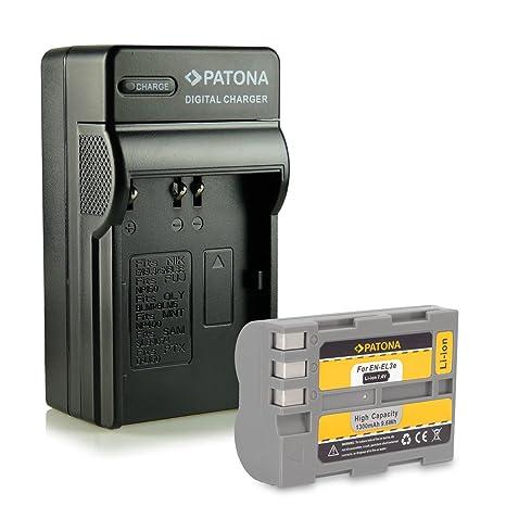 PATONA 4en1 Cargador + Batería EN-EL3E para Nikon D50 D70s D80 D90 D200 D300 D300S D700