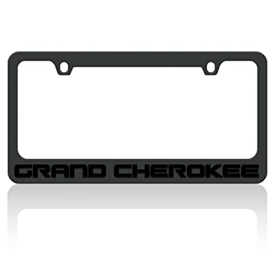 Eurosport Daytona- Compatible with - Jeep Grand Cherokee Black Word Black License Plate Frame: Automotive